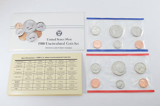 1988 U.S. Mint Uncirculated Coin Set - 10 BU Coins from the Philadelphia and Denver Mints