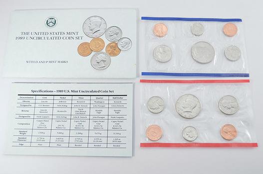 1989 Official U.S. Uncirculated Coin Mint Set - 10 Coins P & D