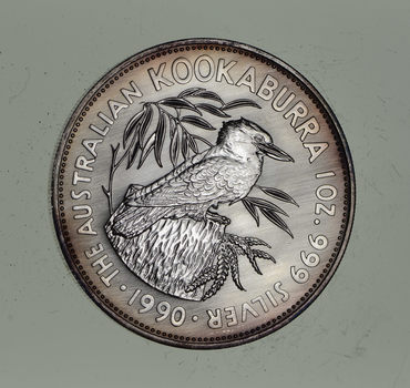 1990 AUSTRALIAN KOOKABURRA *INAUGURAL YEAR* 1 oz SILVER $5 COIN *UNC