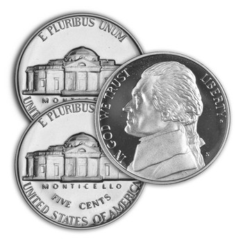 1990 P,D,S Jefferson Nickel - Uncirculated Philadelphia & Denver Minted Proof San Francisco Minted Singles - 3 Coins Total