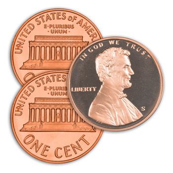 1990 P,D,S Lincoln Memorial Cent - Uncirculated Philadelphia & Denver Minted Proof San Francisco Minted Singles - 3 Coins Total