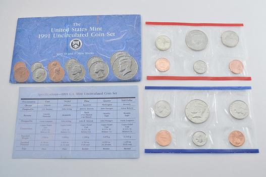 1991 Official U.S. Mint Set - 10 BU Coins P and D