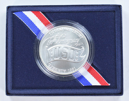 1991 United States Silver USO 50th Anniversary Commemorative Uncirculated Silver Dollar w/ Box & COA