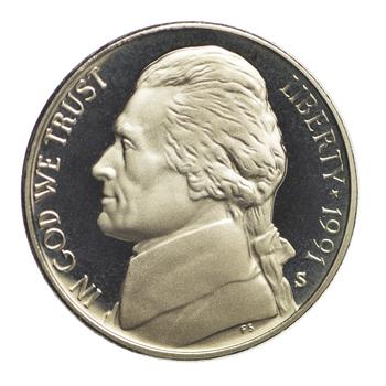 1991 S Proof Deep Cameo Jefferson Nickel