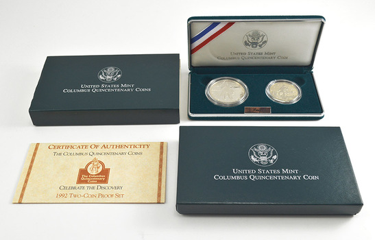 1992 Columbus Quincentenary Proof Two-Coin Set w/ Box & COA - Including Dollar And Half-Dollar
