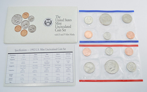 1992 Official U.S. Uncirculated Coin Mint Set - 10 Coins P & D