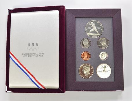 1992 Olympic US Mint - Prestige Proof Set - Includes Olympic Commemorative Silver Dollar & Half Dollar