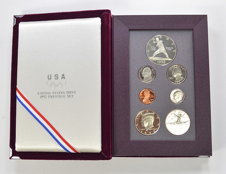 1992 Olympic US Mint - Prestige Proof Set - Includes Olympic Commemorative Silver Dollar & Half Dollar