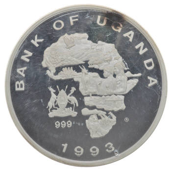 1993 Bank of Uganda Endangered Wildlife 5000 Shillings 999 Silver Proof