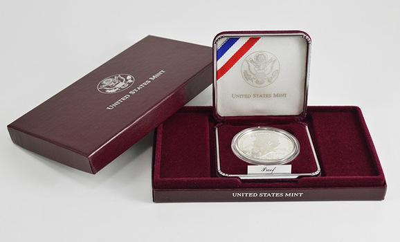 1993 Thomas Jefferson 250th Anniversary Commemorative Proof Silver Dollar w/ Box & COA