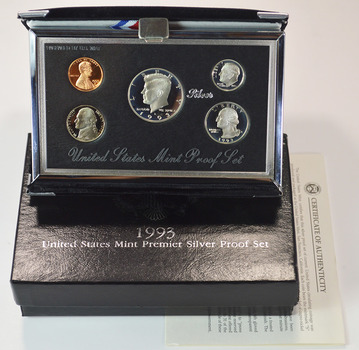 1993 U.S. Premier Silver Proof Set In Mint Packaging With COA - Contains 3 Silver Coins