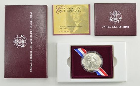 1993-P $1 Jefferson Uncirculated US Commemorative Silver Dollar Original Packaging