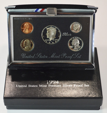 1994 U.S. Premier Silver Proof Set In Mint Packaging With COA - Contains 3 Silver Coins