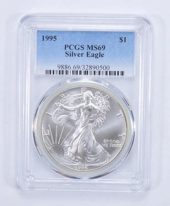 1995 American Silver Eagle MS-69 1 Troy Oz PCGS Graded
