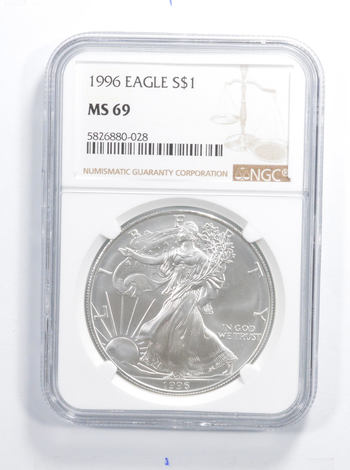1996 AMERICAN SILVER EAGLE, KEY DATE - NGC MS69 1 Oz Graded