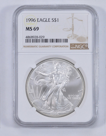 1996 AMERICAN SILVER EAGLE, KEY DATE - NGC MS69 BROWN LABEL