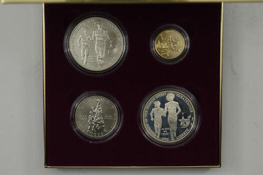 1996 Atlanta Olympic Games 4 Coin Set - GOLD & SILVER $1.00 $5 PR Unc
