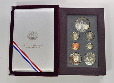 1996 Olympic US Mint - Prestige Proof Set - Includes Olympic Commemorative Silver Dollar & Half Dollar