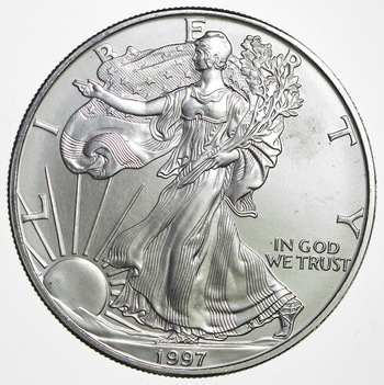 1997 American Silver Eagle 1 Troy Oz .999 Fine Silver