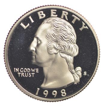 1998-S Proof CAMEO Washington Quarter - San Francisco Minted