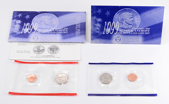 1999 United States Susan B. Anthony Uncirculated P&D Coin Set - Two Coins Total In Original Envelope