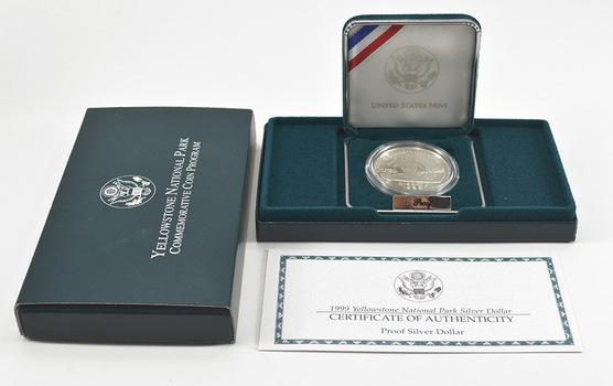 1999 Yellowstone National Park Commemorative Proof Silver Dollar w/ Box & COA