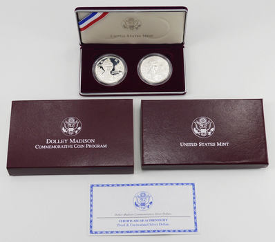 1999-P $1 Dolley Madison PROOF & Uncirculated US Commemorative Silver Dollar 2 Coin Set