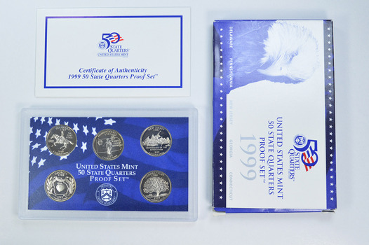 1999-S 5 Coin State Quarter Proof Set w/ Box & COA