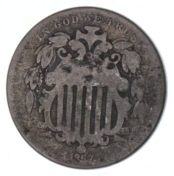 1st US Nickel - 1867 No Rays - Shield Nickel - US Type Coin - Over 100 Years Old!