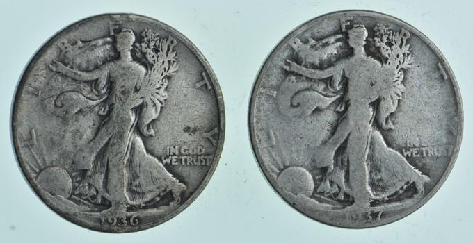 (2) 1936-D & 1937-D Walking Liberty Half Dollars 90% Silver $1.00 Face