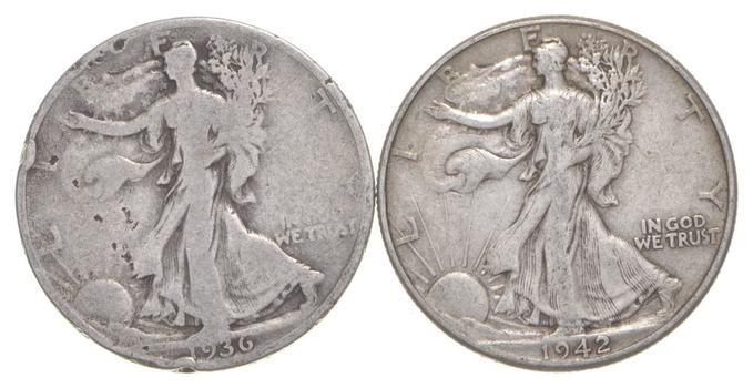 (2) 1936-S & 1942 Walking Liberty Half Dollars 90% Silver $1.00 Face