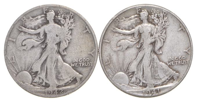 (2) 1941 & 1942-D Walking Liberty Half Dollars 90% Silver $1.00 Face