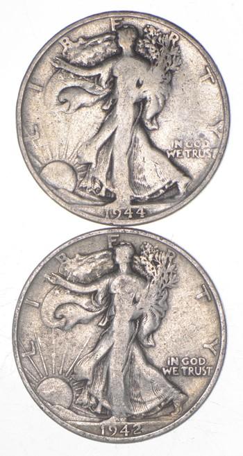 (2) 1942-S & 1944-S Walking Liberty Half Dollars 90% Silver $1.00 Face