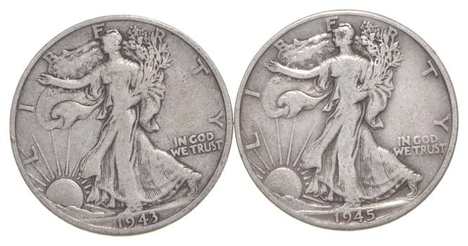 (2) 1943-D & 1945-D Walking Liberty Half Dollars 90% Silver $1.00 Face