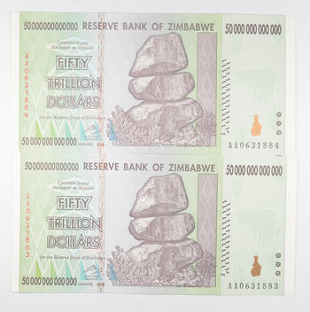 2 Consecutive 50 TRILLION Dollar - Zimbabwe Uncirculated Notes - 2008 Authentic