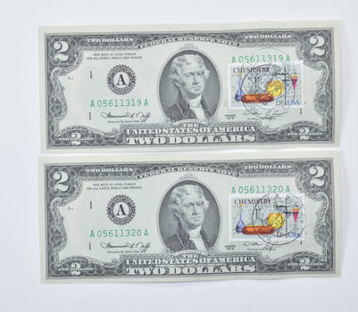 2 Consecutive First Day Issue 1976 $2.00 Federal Reserve Note - Stamped!