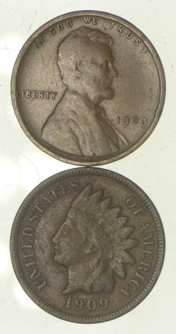 2 Historic Set COIN 1909 VDB Lincoln Wheat Cent & 1909 Indian Head