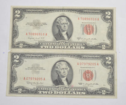 2 Note Set -1953 & 1963 Red Seal $2.00 United States Note - Very Crisp AU+