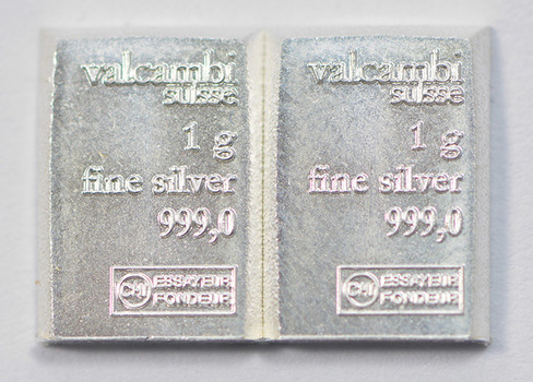 (2) One Gram .999 Fine Silver Valcambi Bar - Total of 2 Bars - Great for bartering