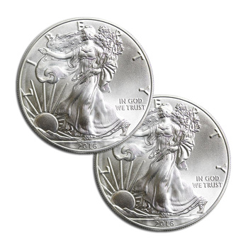 2 x RANDOM DATE American Silver Eagle 1 Troy Oz .999 Fine Silver - 2 Coins For 1 Money