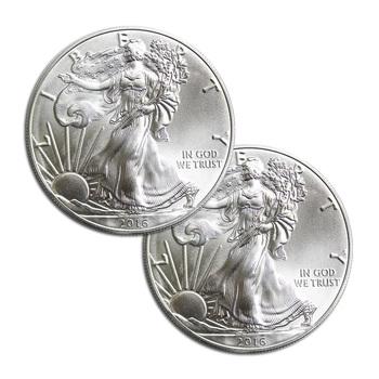 2 xRANDOM DATEAmerican Silver Eagle 1 Troy Oz .999 Fine Silver - 2 Coins For 1 Money