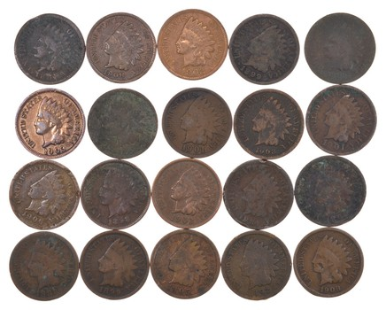(20) 1890 - 1909 Era Indian Head Cents - Penny Lot Collection US Coin