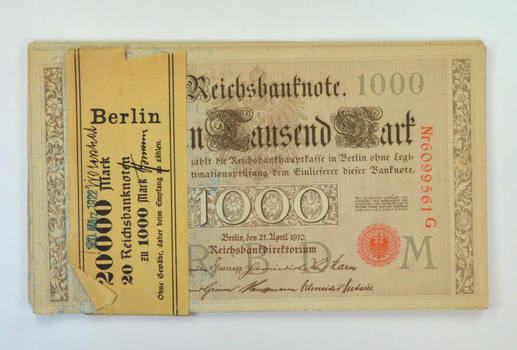 (20) Consecutive 1910 Germany 1,000 Marks Reichsbanknote #44b