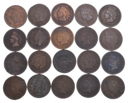 (20) Indian Head Cents 1890-1899 Starter Set Lot Collection 2/5 Roll