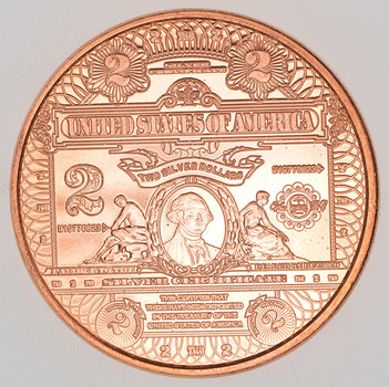 $2.00 US Tribute - Currency Series - One Oz .999 Fine Copper Round - Limited Edition