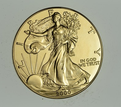 2000 24 Kt Gold Plated American Silver Eagle - Beautiful Coin! 1 Oz .999