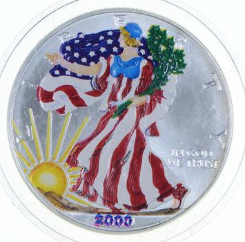 2000 Beautifully Enhanced American Silver Eagle 1 Oz. .999 Fine