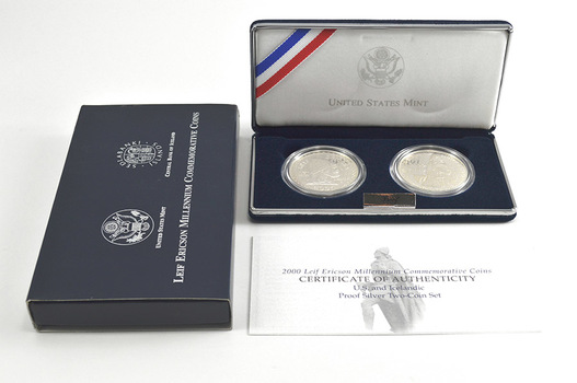 2000 Leif Ericson Millennium Commemorative Proof Two-Coin Set w/ Box & COA - Including Two Large Silver Coins