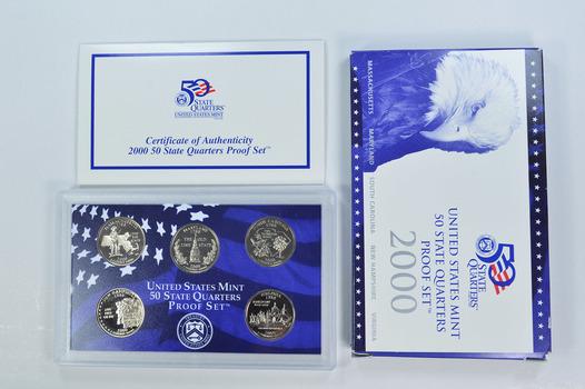 2000-S 5 Coin State Quarter Proof Set w/ Box & COA