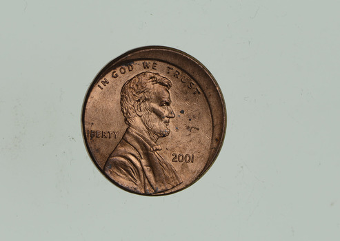 2001 Mint Error - Ch BU Off Center Lincoln Memorial Cents
